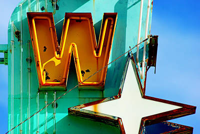 Print featuring the photograph Neon W - The West Theater by Daniel Woodrum