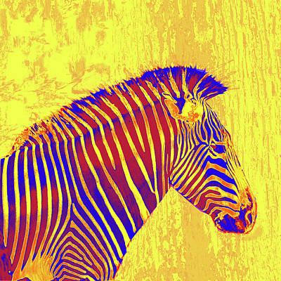 Digital Art - Neon Zebra 2 - Yellow by Jane Schnetlage
