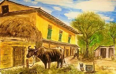 Nepali Painting - Nepal And Its Rural Lifestyle by Pradeep Gautam