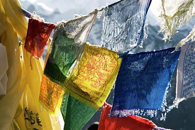 Himalaya Photograph - Nepal, Gokyo Prayer Flags On The Summit by David Noyes