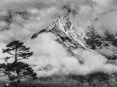Nepal, Himalayas Mountain And Tree Art Print by John Ford