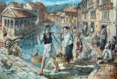 Nepali Painting - Nepali Farmer Family by Hari Prasad Sharma