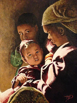 Nepali Painting - Nepali Mother And Children by Meghan Pasquariello