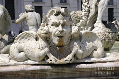 Photograph - Neptune And Dragons On Bernini Fountain by Brenda Kean