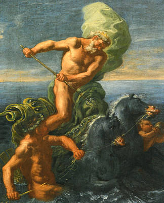 Neptune And His Chariot Of Horses Art Print