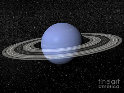 Surrealism Royalty-Free and Rights-Managed Images - Neptune And Its Rings Against A Starry by Elena Duvernay