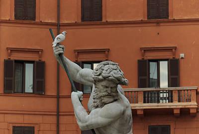 Neptune And The Dove - Fountain Of Neptune Piazza Navona Rome Italy Art Print by Georgia Mizuleva