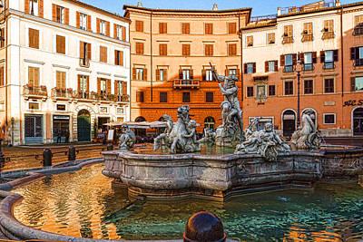 Digital Art - Neptune Fountain On Piazza Navona - Impressions Of Rome  by Georgia Mizuleva