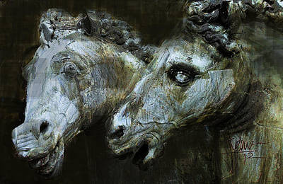 Mixed Media - Neptune Stags by Jim Vance