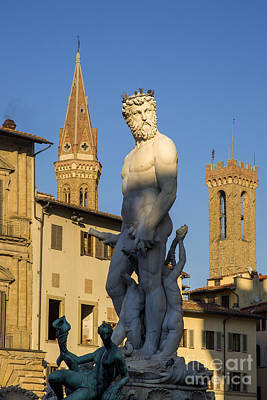 Church Display Photograph - Neptune Statue - Florence by Brian Jannsen