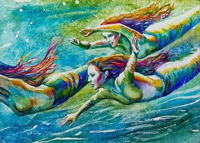 Mermaid Mixed Media - Neptunes Daughters by Patricia Allingham Carlson