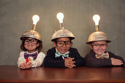 Nerd Children Wearing Lighted Mind Art Print by Richvintage