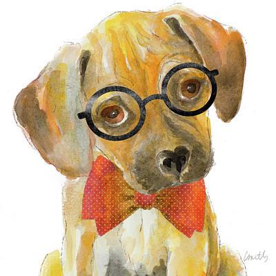 Nerd Pup Square Art Print