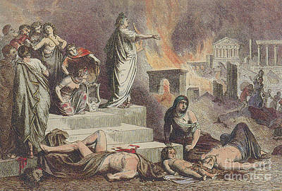 Caesar Augustus Photograph - Nero And The Great Fire Of Rome, 64 Ad by Photo Researchers