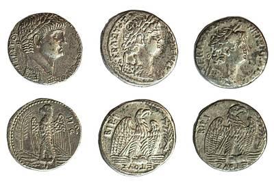 Coins Photograph - Nero Silver Tetradrachm Coins by Photostock-israel