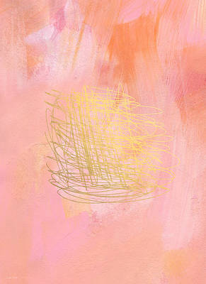 Nest- Pink And Gold Abstract Art Print by Linda Woods
