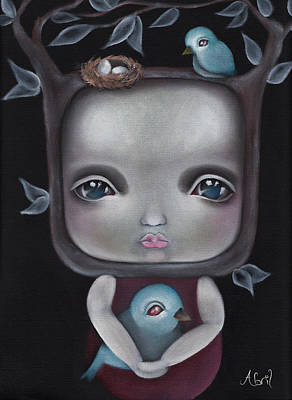 Pop Surrealism Painting - Nesting by Abril Andrade Griffith