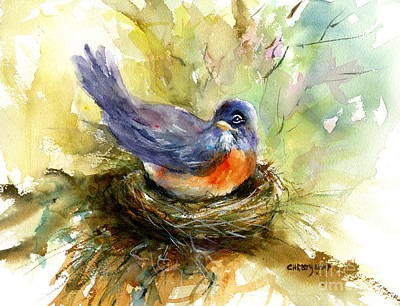 Painting - Nesting Robin by Christy Lemp