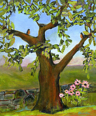 Robin Painting - Nesting Tree by Blenda Studio