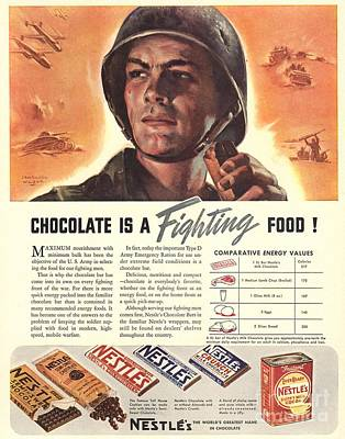 Ww 2 Drawing - Nestle�s 1940s Usa Propaganda Chocolate by The Advertising Archives