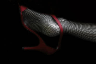 Net Stockings And Red Shoes Art Print by Daniel Hagerman