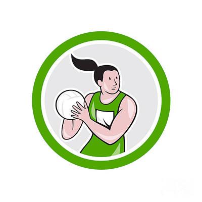 Rebound Digital Art - Netball Player Catching Ball Circle Cartoon by Aloysius Patrimonio