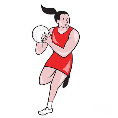 Rebound Digital Art - Netball Player Catching Ball Isolated Cartoon by Aloysius Patrimonio