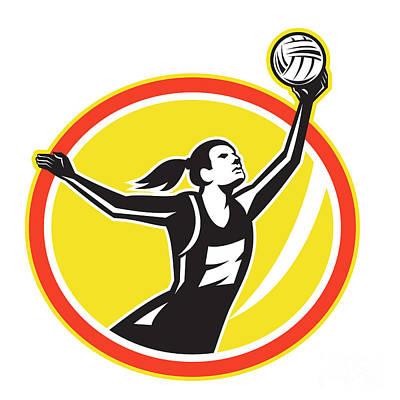 Rebound Digital Art - Netball Player Catching Ball Retro by Aloysius Patrimonio