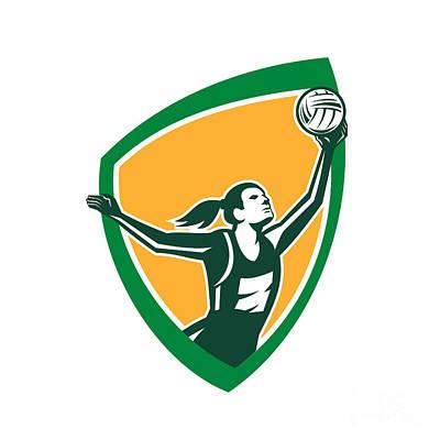 Rebound Digital Art - Netball Player Catching Ball Shield Retro by Aloysius Patrimonio
