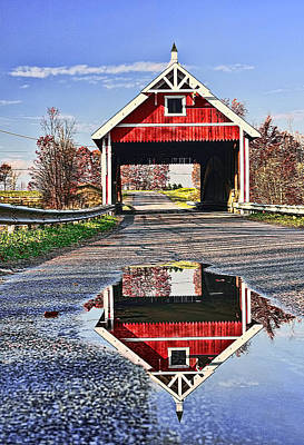 Autumn Photograph - Netcher Covered Bridge by Marcia Colelli