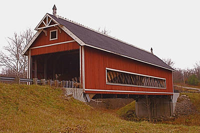 Music Royalty-Free and Rights-Managed Images - Netcher Road Covered Bridge by Jack R Perry