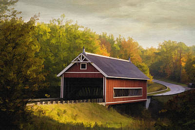 Netcher Road Covered Bridge Art Print by Mary Timman