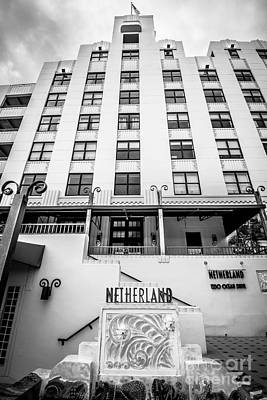 Netherland Photograph - Netherland Hotel South Beach Art Deco District - Black And White by Ian Monk