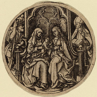 Saint Christopher Drawing - Netherlandish 15th Century, Madonna And Child With Saints by Quint Lox