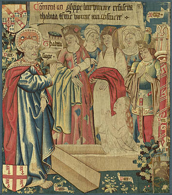 Raising Drawing - Netherlandish 15th Century, The Raising Of Tabitha by Quint Lox