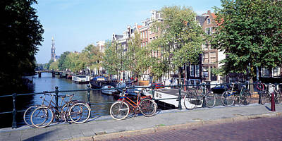 Netherlands, Amsterdam, Bicycles Art Print by Panoramic Images