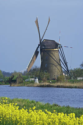 Netherlands, Kinderdijk, Windmill Art Print by Jaynes Gallery