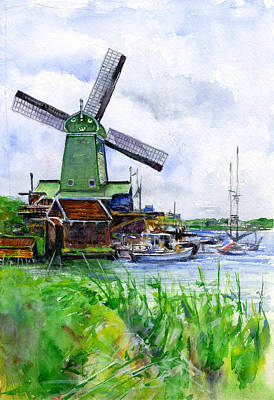 Painting - Netherlands Windmill by John D Benson
