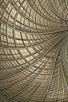 Mesh Digital Art - Network Gold by John Edwards