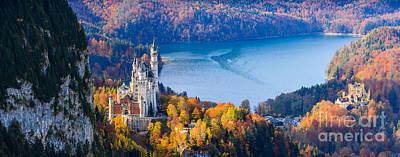 Neuschwanstein Castle Photograph - Neuschwanstein And Hohenschwangau Castle In Autumn Colours by Henk Meijer Photography