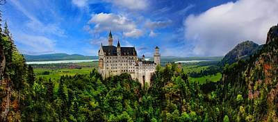 Exotic Photograph - Neuschwanstein Castle Bavaria Germany Panorama by Julia Fine Art And Photography