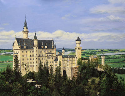 Stone Buildings Painting - Neuschwanstein Castle Germany by Cecilia Brendel