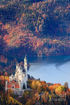 Neuschwanstein Castle Photograph - Neuschwanstein Castle In Autumn Colours by Henk Meijer Photography