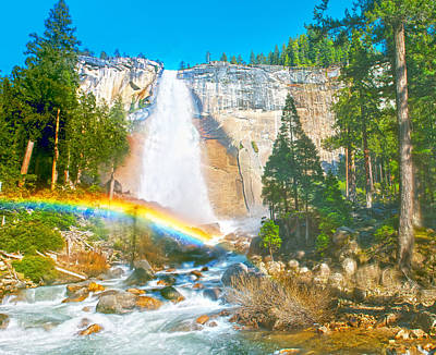 Digital Art - Nevada Fall In Late Afternoon by Steven Barrows