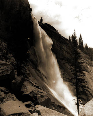 Yosemite National Park Drawing - Nevada Fall, Jackson, William Henry, 1843-1942, Waterfalls by Litz Collection