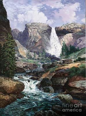 Nevada Falls Rendition By W Scott Fenton Art Print by W  Scott Fenton