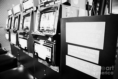 nevada law and redeem tickets signs on gaming gambling machines in mccarran airport Las Vegas Nevada Art Print