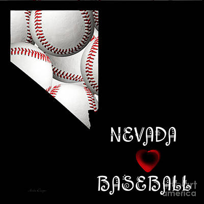 Red Digital Art - Nevada Loves Baseball  by Andee Design