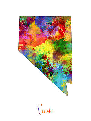 Nevada Map Art Print by Michael Tompsett