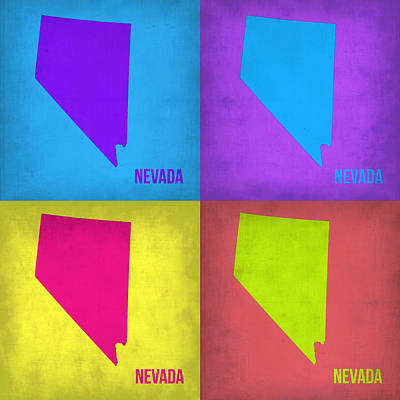 Modern Poster Painting - Nevada Pop Art Map 1 by Naxart Studio